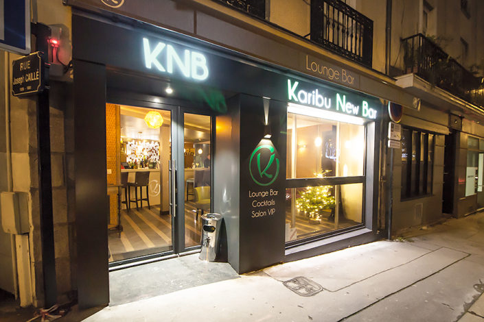 Enseigne KNB Karibu New Bar (Bar Lounge) Caisson lumineux en Centre Ville de Nantes Radisson Blu Hotel
