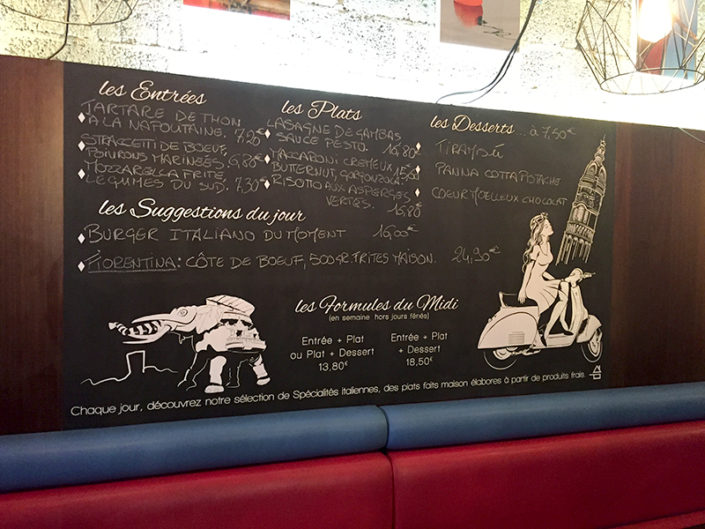 Adhésif décor sur-mesure pour tableau en ardoise pour le restaurant Dolce Vita à Nantes