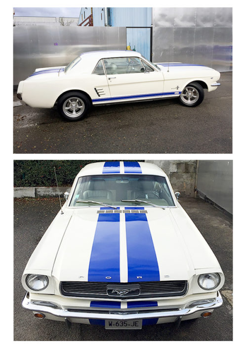 Marquage sur voiture ancienne Ford Mustang Shelby pour le restaurant le Caddy's Diner