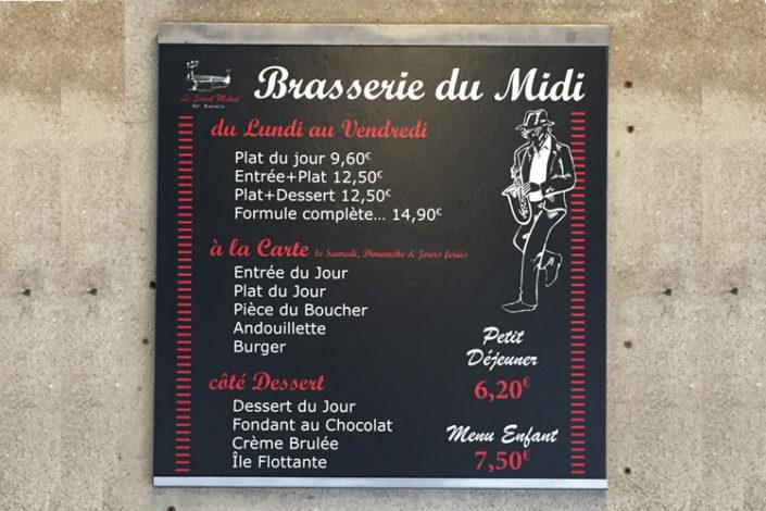 Création du logo et du visuel et impression de l'adhésif mat à poser sur les ardoises existantes du St Mihiel, bar-brasserie à Nantes