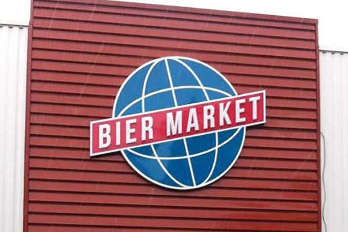 Enseigne Lumineuse Leds point par point et lettres découpées diffusantes - Bier Market