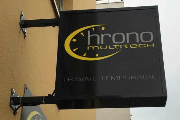 Enseigne caisson lumineux, Chrono Interim, Multitech Boulevard Jules Verne à Nantes