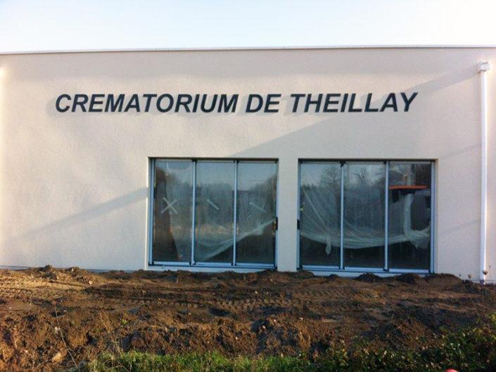 Enseigne en lettres aluminium laquées noires pour le Crématorium de Theillay