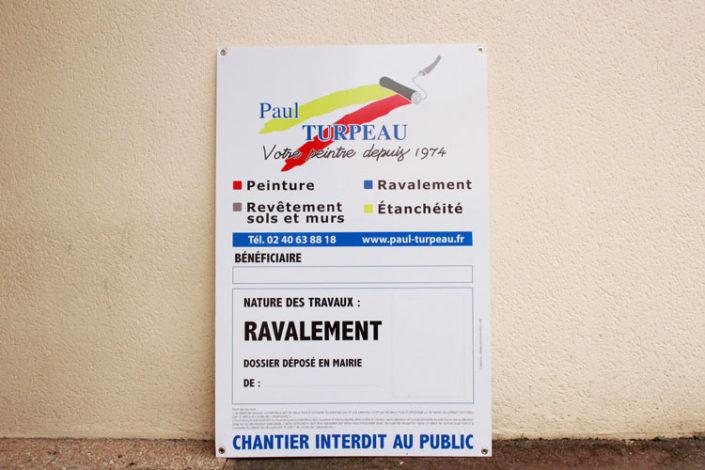 Panneau en akilux Chantier interdit au public pour ravalement de façade, par Paul Turpeau à Nantes