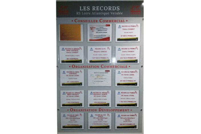 Panneau Dibond® avec affichage des performances commerciales avec plaque de Plexiglas® pour insérer les feuilles de résultats, pour Générali à Nantes