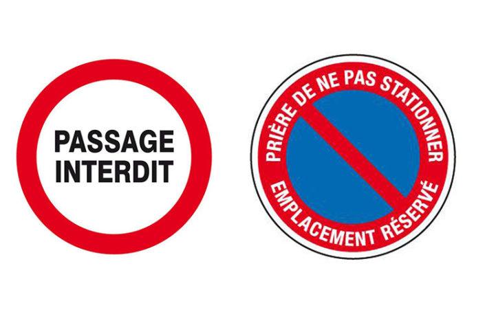 Emplacement réservé et panneau interdiction