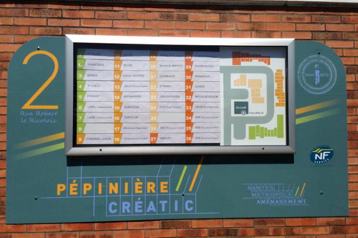Tableau d'orientation pour Pépinière Nantes Créatic