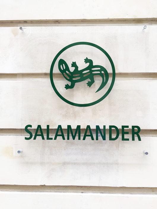 Plexiglas® sur façade avec adhésif quadri, traité anti-UV, pose sur entretoises avec capuchons inox Rue d'Orléans Nantes