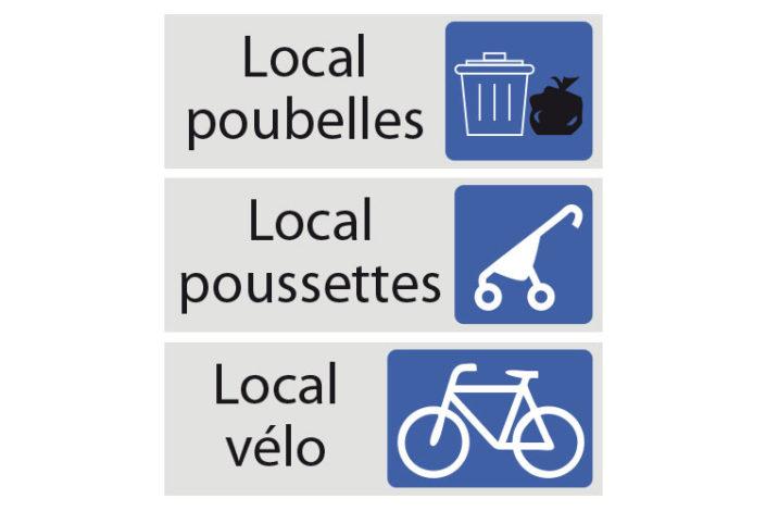 Plaques adhésives pour indication de portes, local poubelles, local poussettes, local vélo pour une copropriété à Nantes