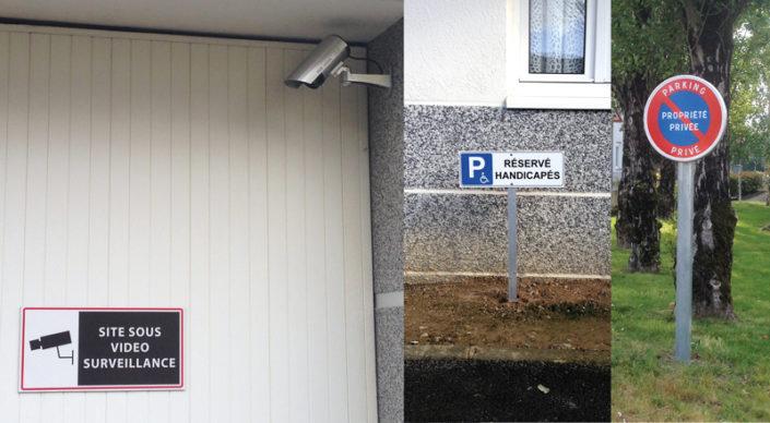 Signalétique de site sous vidéo surveillance, pose d'une caméra, panneau de signalisation réservé handicapés et panneau de propriété privée, parking privé à Nantes (44)