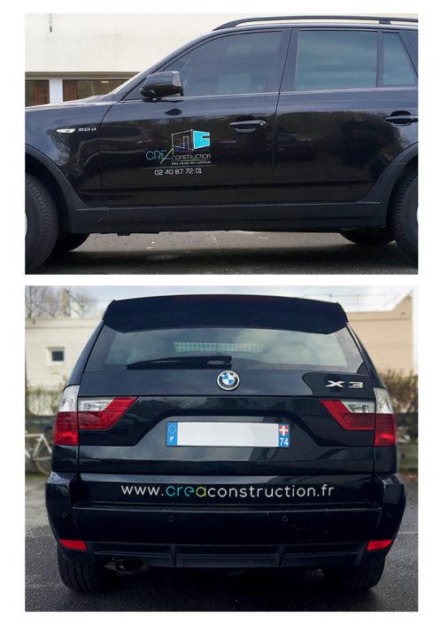 Adhésif pour voiture en lettres découpées avec pose pour Créa-Construction