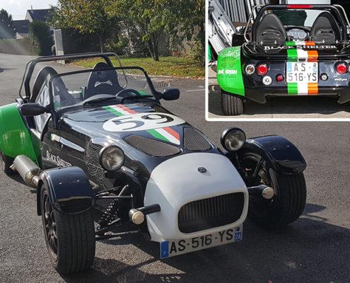 Adhésifs pour une anglaise sportive, optimisation de la carrosserie pour The Black Shelter Nantes Carquefou (44)