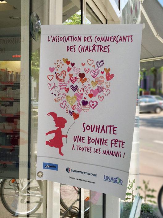 Affiche avec ventouse Association des commerçants Nantes