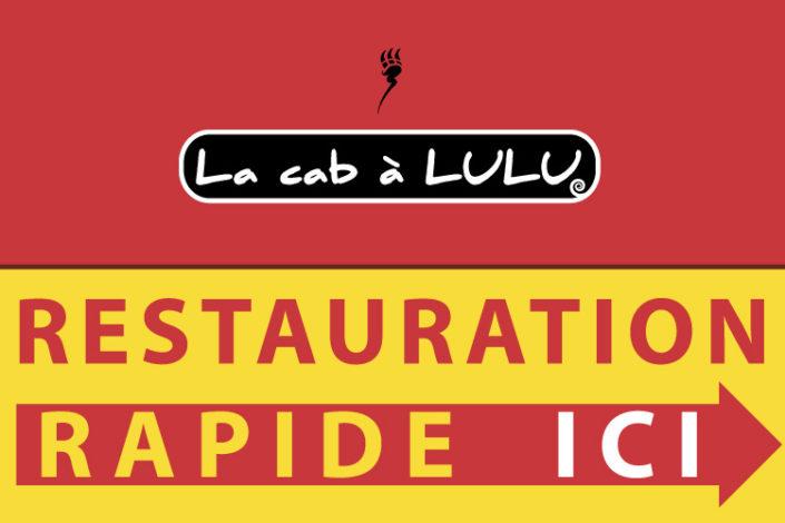 Panneau directionnel de bord de route pour le restaurant La Cab a Lulu