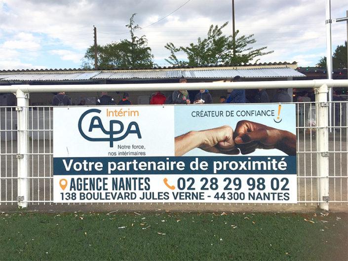 Panneau Dibond publicitaire, sponsor CAPA Intérim à Nantes (44)