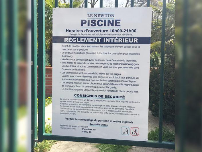 Signalétique de syndic de copropriété, règlement intérieur pour la piscine d'une résidence à Nantes (44)
